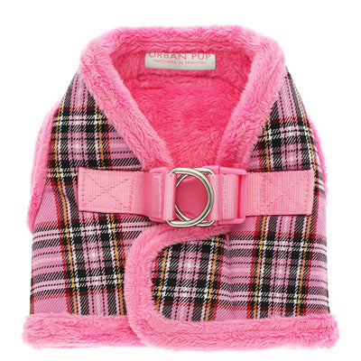 Urban Pup Faux Fur Lined Tartan Chihuahua or Chihuahua Puppy Vest Harness Pink Chihuahua Clothes and Accessories at My Chi and Me
