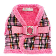 Urban Pup Fur Lined Tartan Chihuahua or Chihuahua Puppy Vest Harness Pink