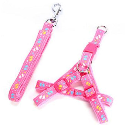 Chihuahua Harness and Lead Set PINK FOOTPRINTS Medium Weight Webbing Chihuahua Clothes and Accessories at My Chi and Me