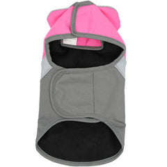 Pink And Grey Waterproof Dog Coat With Reflective Panels And Adjustable Velcro Fastenings