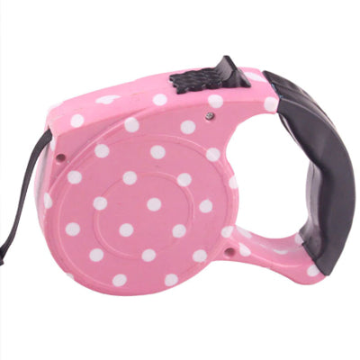Comfort Grip Retractable Extending Chihuahua or Small Dog Lead Polka Dot Pink Chihuahua Clothes and Accessories at My Chi and Me