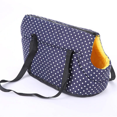 Padded Travel Shoulder Bag Dark Blue White Polka Dot Dog Carrier Chihuahua Clothes and Accessories at My Chi and Me
