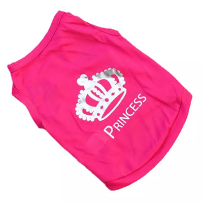 Chihuahua Small Dog Vest Style T Shirt Princess Design Hot Pink - My Chi and Me