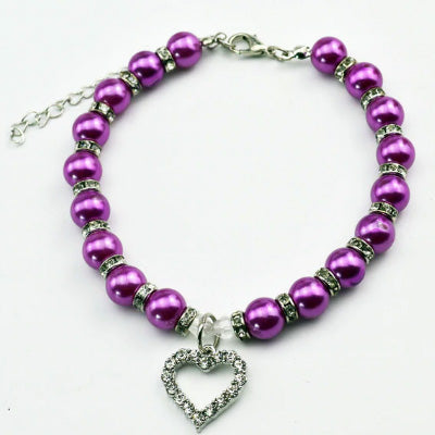Chihuahua Bling Necklace Small Dog Faux Pearl and Diamante Heart Collar Purple Chihuahua Clothes and Accessories at My Chi and Me