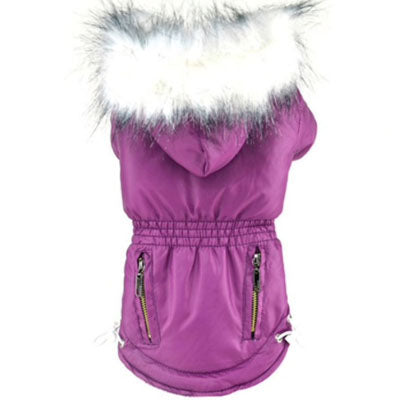Puppy Chihuahua or Small Dog Designer Purple Fuchsia or Coral Parka Style Dog Coat