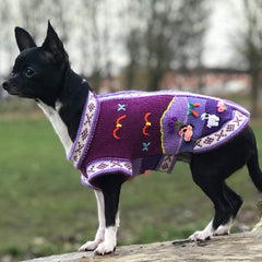 Size 1 Hand Embroidered Peruvian Dog Jumper Purple 21cm Chihuahua Clothes and Accessories at My Chi and Me
