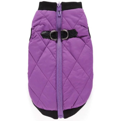 Water Resistant Padded Quilted Purple Dog Gilet Chihuahua Clothes and Accessories at My Chi and Me