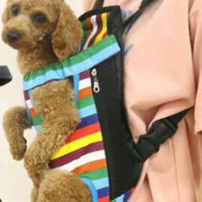 Front Facing Pet Carrier For Puppies And Small Dogs Legs Out Rainbow Chihuahua Clothes and Accessories at My Chi and Me