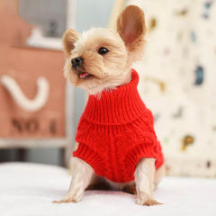 Small Dog Soft Cable Jumper Red 6 Sizes