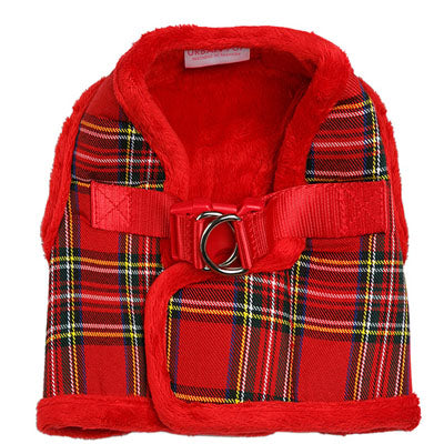 Urban Pup Fur Lined Tartan Chihuahua or Chihuahua Puppy Vest Harness Red