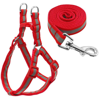 Reflective Chihuahua Harness and Lead Red Strong Webbing - My Chi and Me
