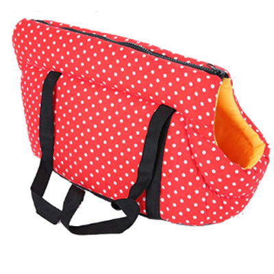Padded Travel Shoulder Bag Red White Polka Dot Dog Carrier - My Chi and Me
