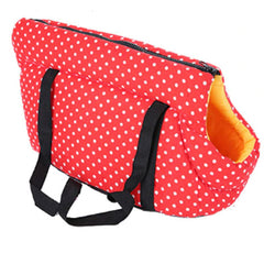 Padded Travel Shoulder Bag Red White Polka Dot Dog Carrier Chihuahua Clothes and Accessories at My Chi and Me