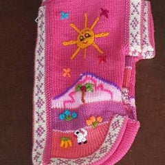 rhubarb pink peruvian hand embroidered wool dog jumper