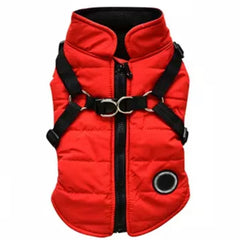 Trekker Water Resistant Padded Chihuahua Dog Coat with Inbuilt Harness Samurai Red Chihuahua Clothes and Accessories at My Chi and Me