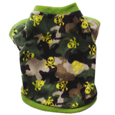 Chihuahua Puppy Fleece Green Camouflage Print with Skulls