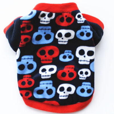 Chihuahua Puppy Fleece Black with Blue Red and White Skulls Design Chihuahua Clothes and Accessories at My Chi and Me