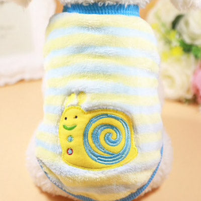 Chihuahua Puppy Fluffy Blue and Yellow Vest with Happy Snail Motif Chihuahua Clothes and Accessories at My Chi and Me
