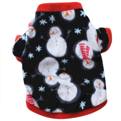 Chihuahua Puppy Fleece Black with White Snowman Design XS Chihuahua Clothes and Accessories at My Chi and Me