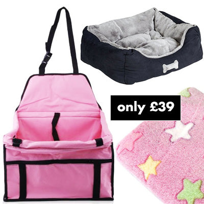 Premium Portable Pink Folding Travel Car Seat, Bed and Pink Blanket Offer Chihuahua Clothes and Accessories at My Chi and Me