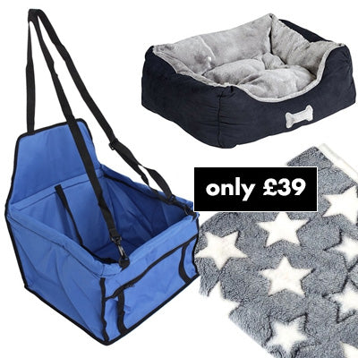 Premium Portable Blue Folding Travel Car Seat, Bed and Grey Blanket Offer Chihuahua Clothes and Accessories at My Chi and Me