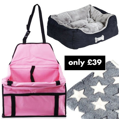 Premium Portable Pink Folding Travel Car Seat, Bed and Grey Blanket Offer Chihuahua Clothes and Accessories at My Chi and Me