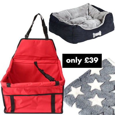 Premium Portable Red Folding Travel Car Seat, Bed and Grey Blanket Offer Chihuahua Clothes and Accessories at My Chi and Me