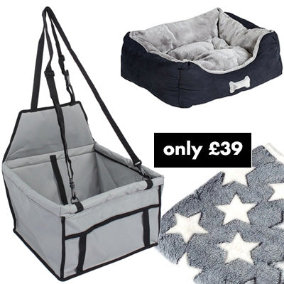 Premium Portable Grey Folding Travel Car Seat, Bed and Grey Blanket Offer Chihuahua Clothes and Accessories at My Chi and Me