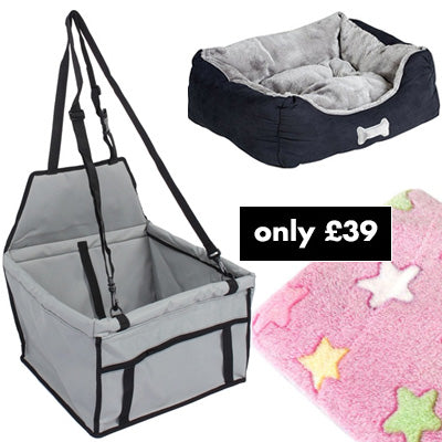 Premium Portable Grey Folding Travel Car Seat, Bed and Pink Blanket Offer Chihuahua Clothes and Accessories at My Chi and Me