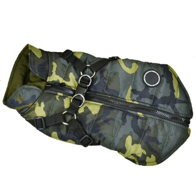 Trekker Water Resistant Padded Chihuahua Dog Coat with Inbuilt Harness Green Camouflage