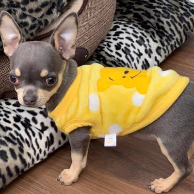 Chihuahua Puppy Fluffy Yellow Vest with Winnie the Pooh Motif Chihuahua Clothes and Accessories at My Chi and Me