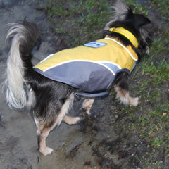 chihuahua or small dog waterproof fleece lined yellow and grey dog coat with reflective panels
