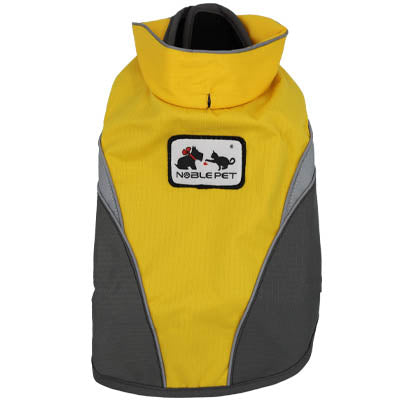 Yellow And Grey Waterproof Dog Coat With Reflective Panels And Adjustable Velcro Fastenings