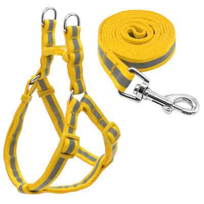 Reflective Chihuahua Harness and Lead Yellow Strong Webbing Chihuahua Clothes and Accessories at My Chi and Me