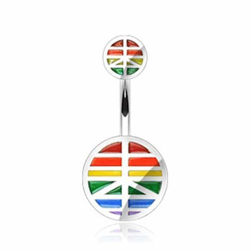 Peace Pride Belly Bar 14G