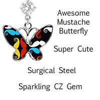 Mustache Butterfly Belly Bar 14G-My Body Piercing Jewellery