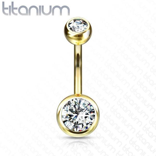 Solid Titanium Double Gem Belly Bar 14G