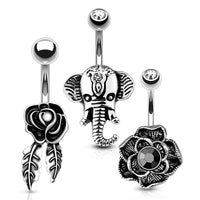 3pc Rose Elephant Belly Bars 14G-My Body Piercing Jewellery