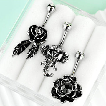 3pc Rose Elephant Belly Bars 14G