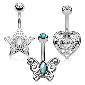 3pc Star Heart Butterfly Belly Bars 14G