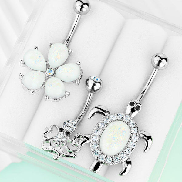 3pc Turtle Octopus Flower Belly Bars 14G-My Body Piercing Jewellery