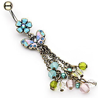 Vintage Aqua Bead Chain Belly Bar
