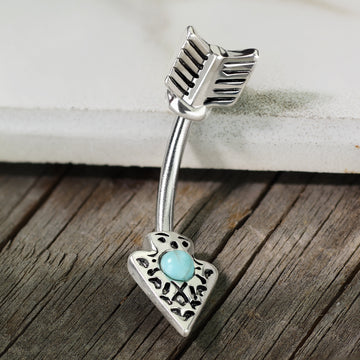 Turquoise Arrow Belly Bar 14G
