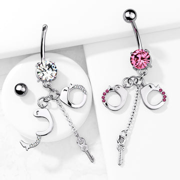 Gem Handcuff Belly Bar 14G