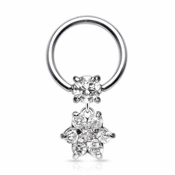 Flower Dangle Captive 16G-My Body Piercing Jewellery