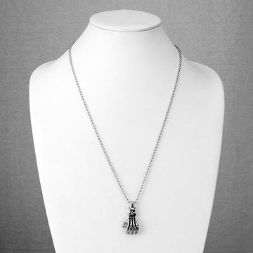 Skull Skeleton Hand Pendant and Chain