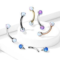 Prong Set Opal Internally Threaded Curve 16G-My Body Piercing Jewellery