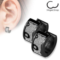 Black Sparkle Animal Print Huggies Earrings Pair-My Body Piercing Jewellery