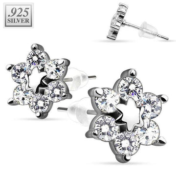 .925 Sterling Silver Earrings Flower 8mm PAIR