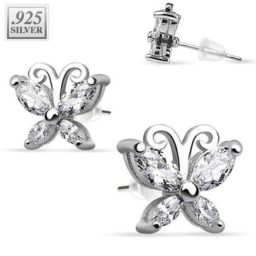 .925 Sterling Silver Earrings Butterfly 11mm PAIR